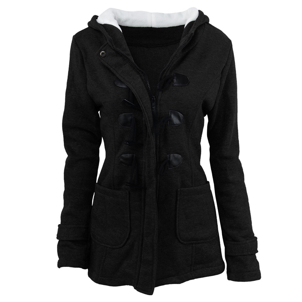 Plus Size S~6XL Women Hooded Coat 2018 Causal Women's Overcoat Female Coat Zipper Horn Button Outwear Jacket Casaco Feminino (7)