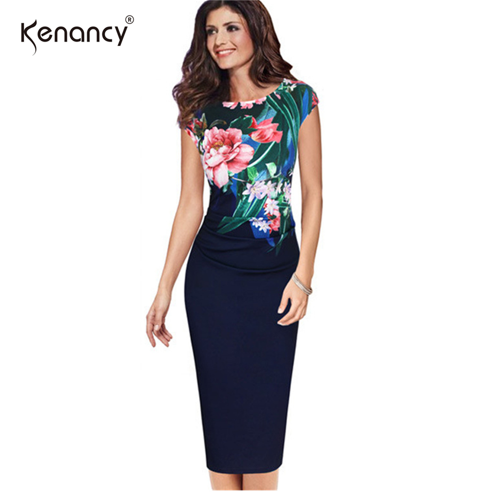 69b44c0e021 Kenancy 3XL Plus Size 2 Colors Floral Flower Ruched Dress Women Party  Office Slim Sheath O Neck Sleeveless Vestidos Elegant-in Dresses from  Women s Clothing ...