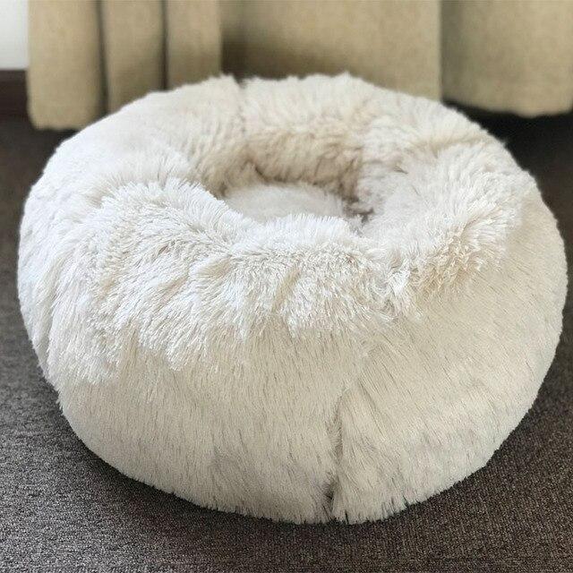 Pet Camas Do Cão de Pelúcia Macia Rodada Tapetes de Algodão Quente Gato Colchão Espreguiçadeira Cama para Cães Pequenos Médio Respirável Almofada de Dormir canil