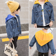 Children's clothing spring and autumn new long-sleeved jacket 2019 baby solid color hooded denim jacket boy clothes long sleeved overalls suit male wear spring and autumn workshop factory clothes jacket auto repair clothing sanitation tooling l