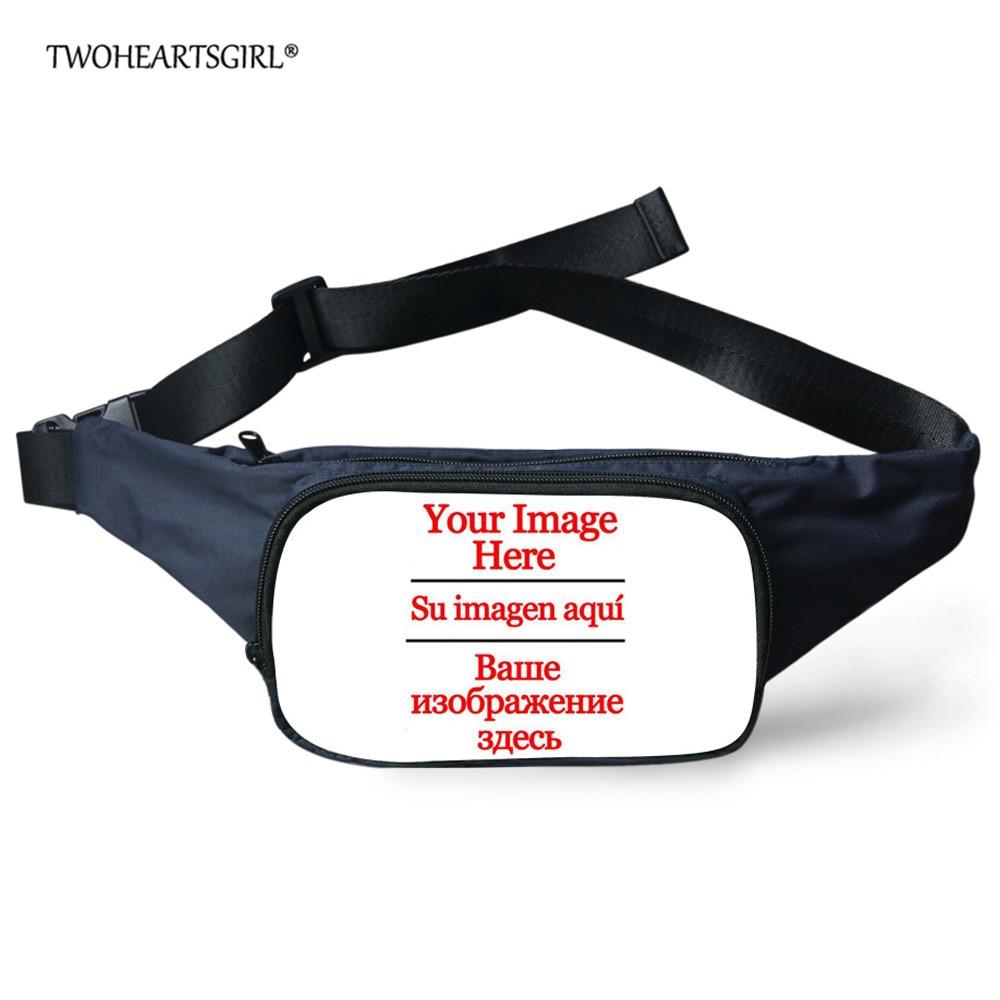 TWOHEARTSGIRL Custom Waist Bags Women Fanny Pack Female Belt Bag Custom Men Waist Packs Chest Phone Pouch