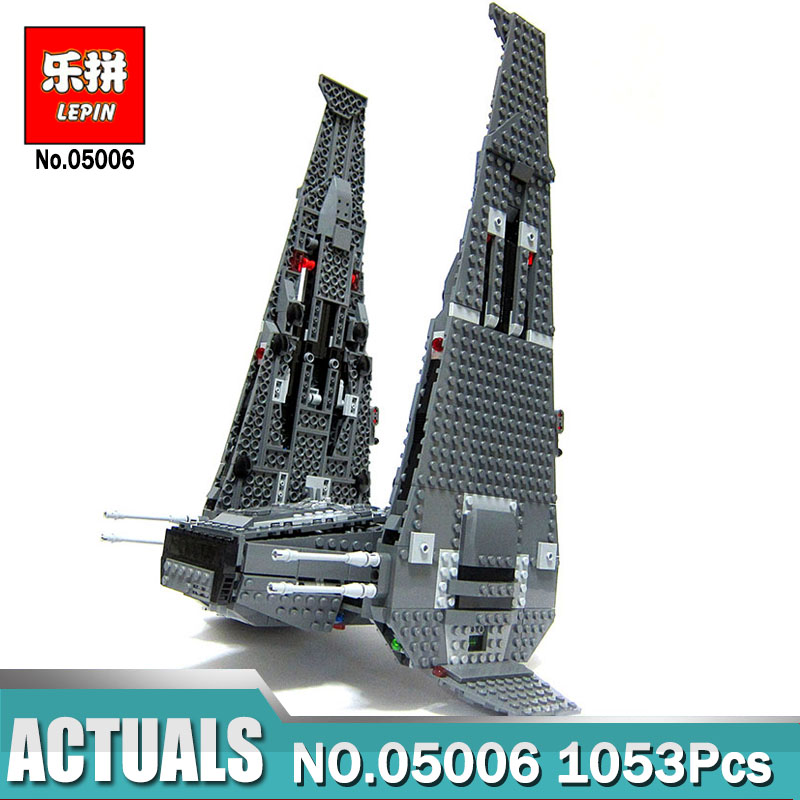 1053Pcs Lepin 05006 Wars on Star The Kylo Ren Command Shuttle lepin Building Blocks Educational Toys Compatible LegoINGlys 75104 lepin 05006 star kylo ren command shuttle lepin building blocks educational toys compatible with 75104 lovely funny toys wars