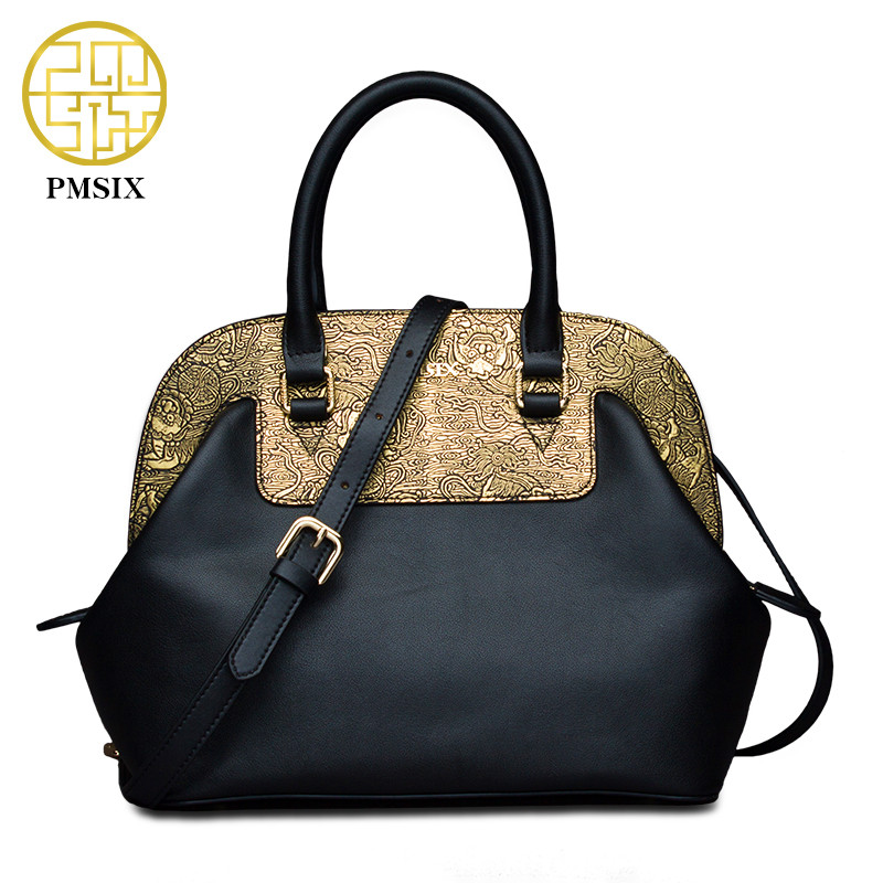 Pmsix 2018 Chinese Style Women Leather Bag Cattle Split Leather Gold Patchwork Ladies Shoulder Bags Tote Bag Female Vintage Bag цена