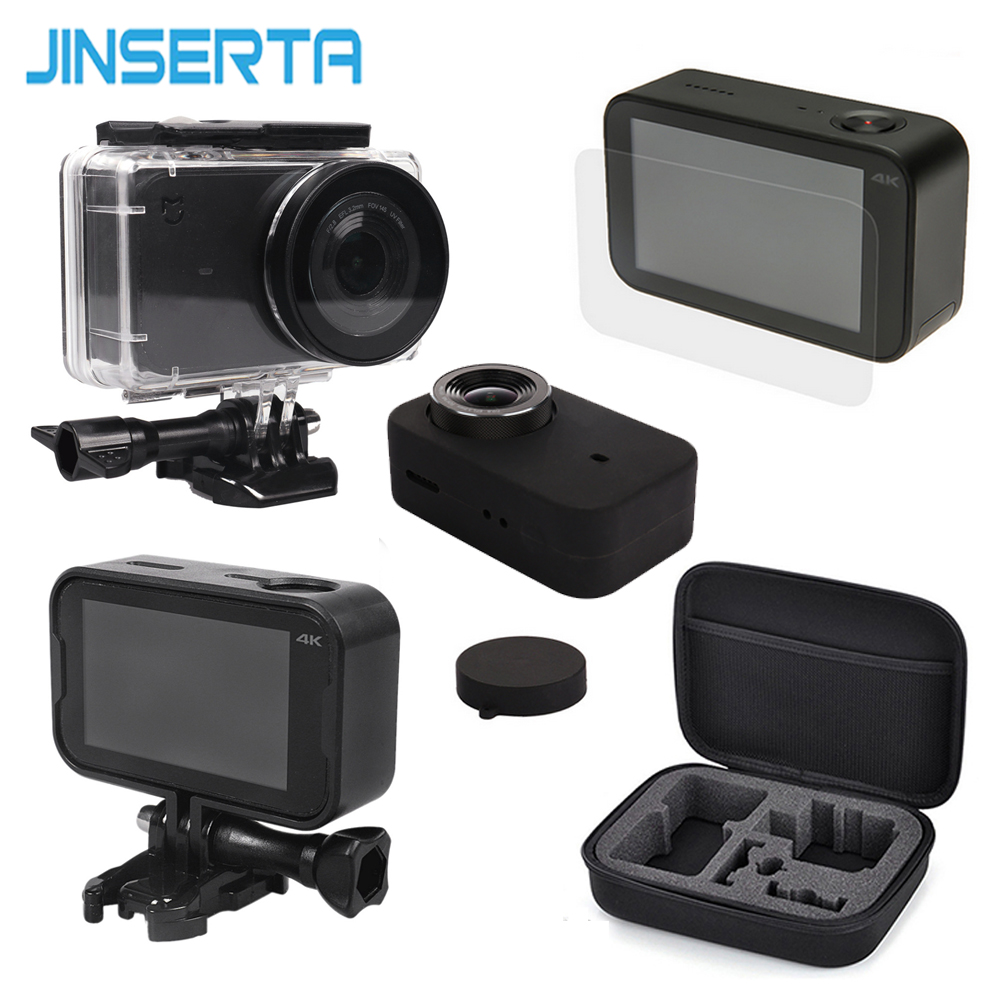 5 in 1 Camera Bag Set Waterproof Housing+Plastic Frames+Soft Silicone Cover+EVA Storage Bag+ Glass Film for Xiaomi Mijia 4K Cam carbon nanotube film for electrochemical energy storage devices