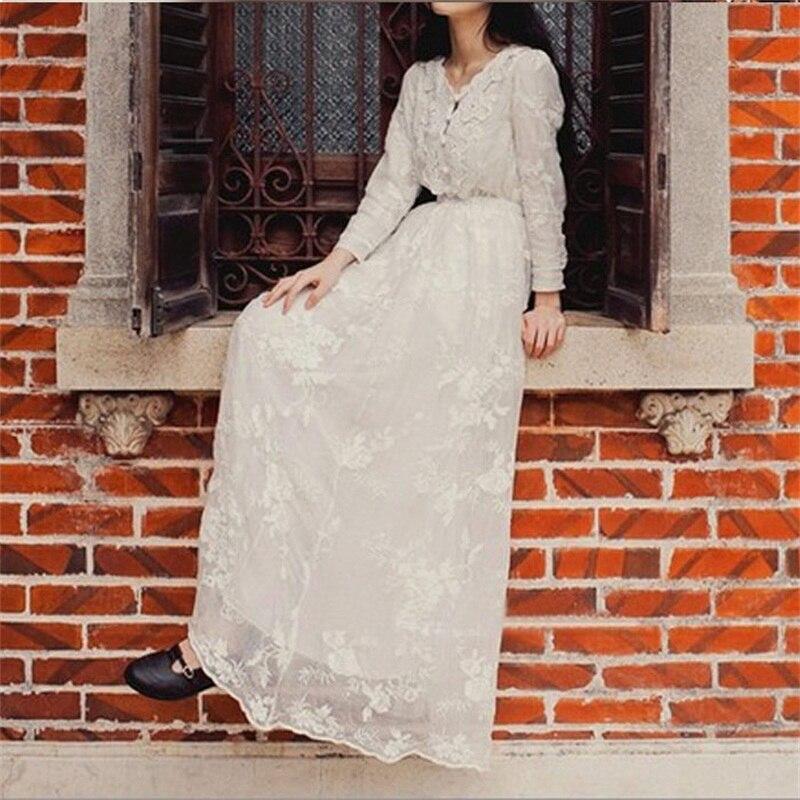 Femmes printemps français vintage blanc une pièce robe broderie fil dentelle à manches longues expansion bas élégant pleine robe