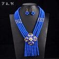 2016 Nueva Boda Nigeriano Joyería India Conjuntos Accesorios de La Novia de Oro Plateado Collar de Gargantilla de Flor Perlas Africanas Sistemas de La Joyería