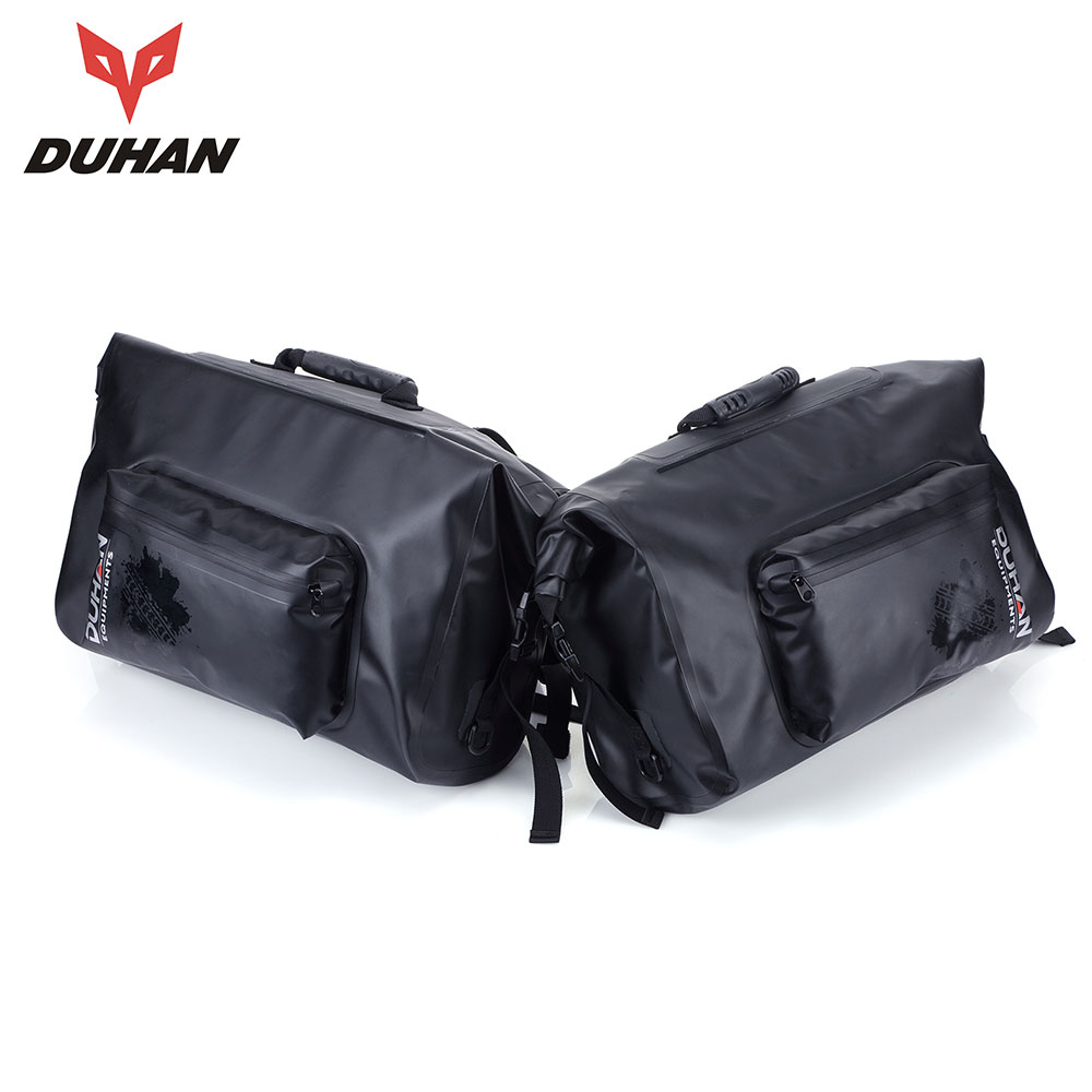 DUHAN Motorcycle Saddle Bags Men Waterproof Moto Racing Tool Tail Bags Riding Travel Luggage Black Multifunction Side Bag 1 Pair pro biker motorcycle saddle bag pattern luggage large capacity off road motorbike racing tool tail bags trip travel luggage