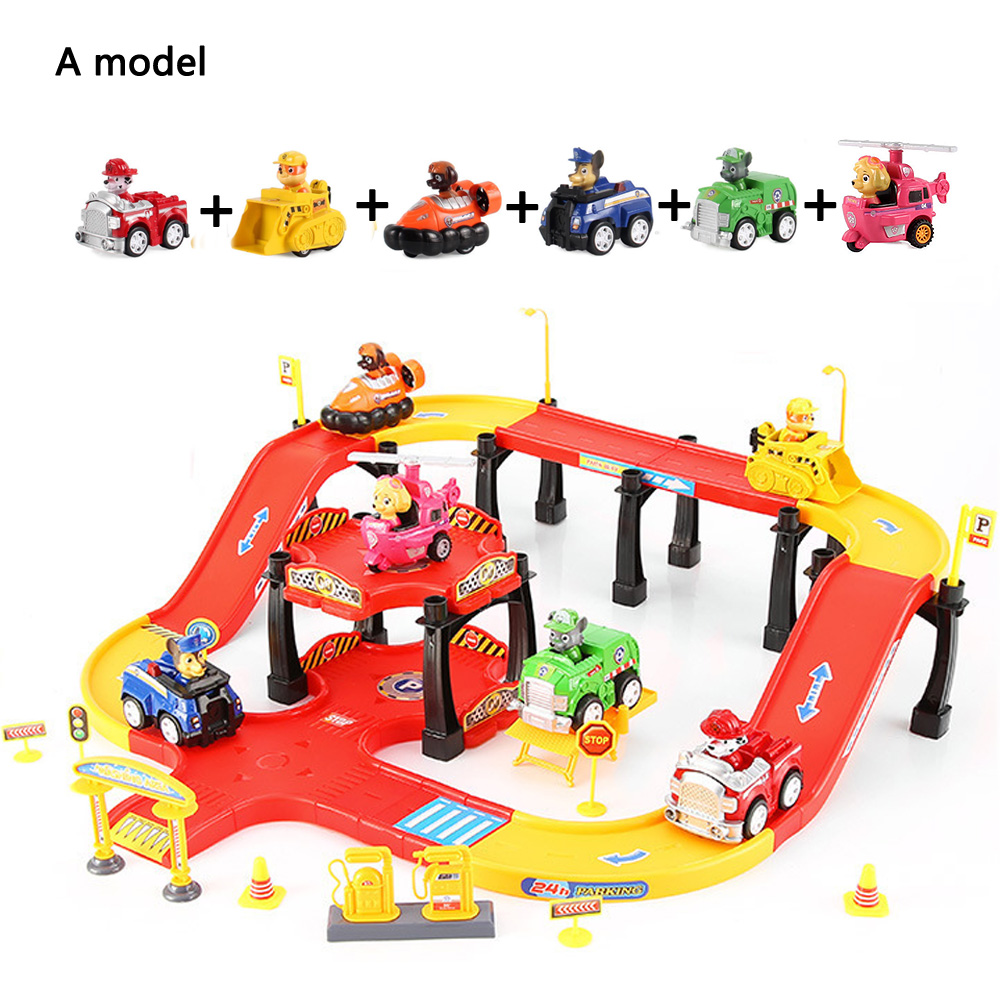 Cartoon Canine Patrol Puppy Dog Parking Lot Car Toys Anime Action Figures Model Kids Gift Patrulla Canina Juguetes For Children model anime puppy pow patrol dog action figures back to power car with light and music puppy patrulla canina toy baby kids toys