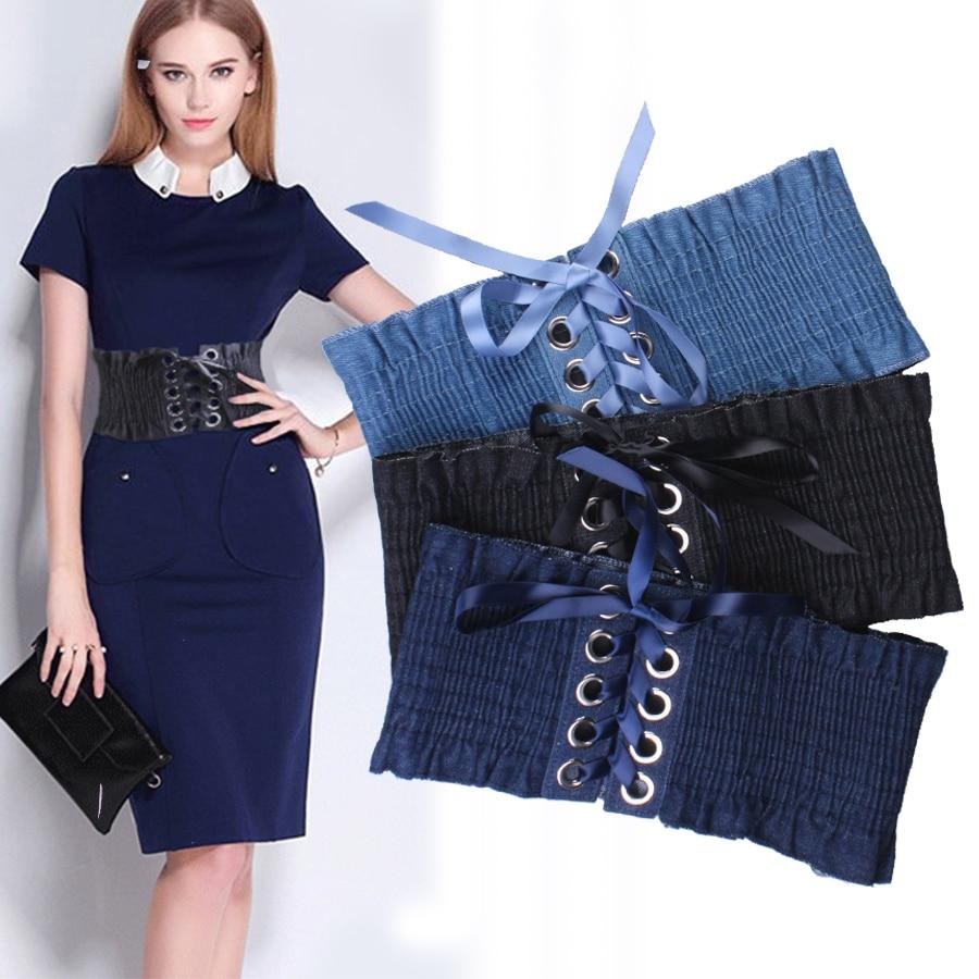 Tide falbala adornment ultra wide belt fashion denim elastic waist sealing female personality