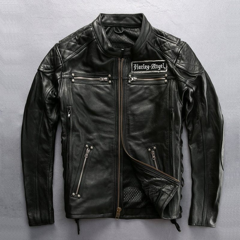 DHL Free Shipping New Genuine Leather Jacket Men's Classic Motorcycle Rider Cowhide Skull Jacket Vintage Spring Auntumn Coat