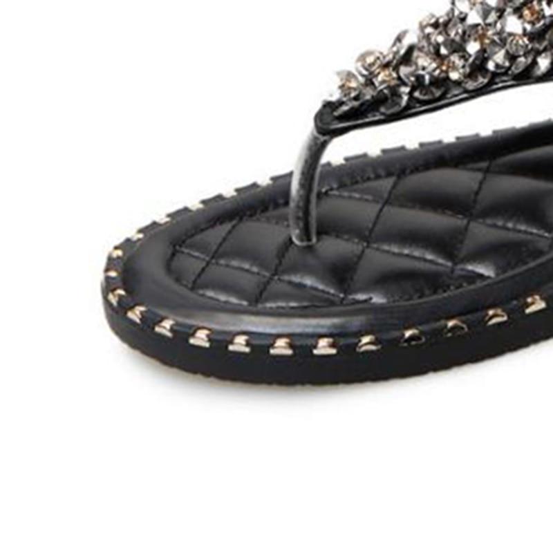 Femmes Élastique 2018 Dames Flops blanc Mode Wss840 Sandales Occasionnels Glitter Noir Chaussures Plat Flip Bande Gladiateur D'été Covoyyar gtx7A4g