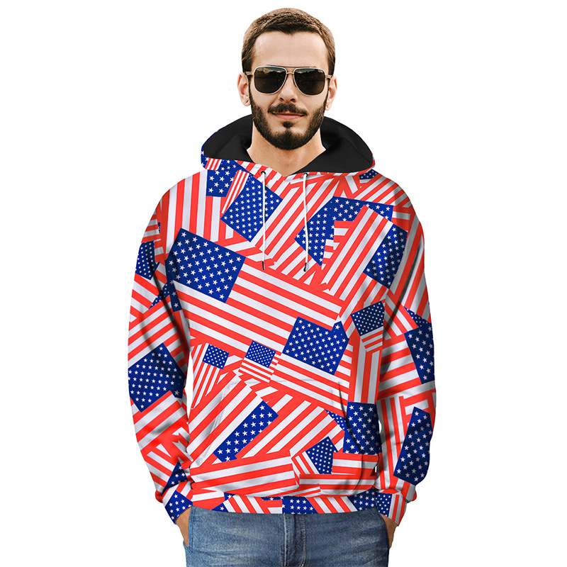 America Flag 3D Print Red White Stripes Hoodies Women Men Unisex Casual Streetwear Pullovers Hood Sweatshirts Mens Tops Clothes in Hoodies amp Sweatshirts from Women 39 s Clothing