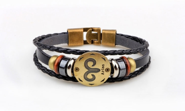 12 Zodiac Signs Leather...