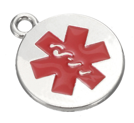 50pcs Emergency medical sign red enamel Charms pendant silver gold Handmade bracelet necklace Jewelry Making DIY accessories