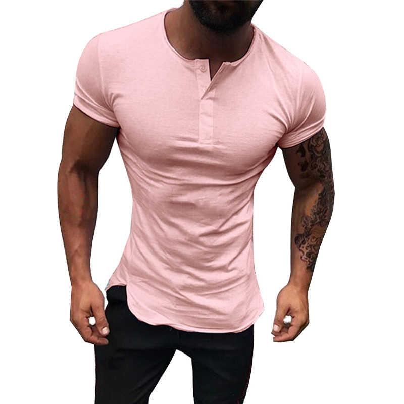 Moda hombre Casual botón manga corta Camiseta Hombre cuello redondo pulóver blusa camisa hombres verano sólido Color Slim Fit camiseta