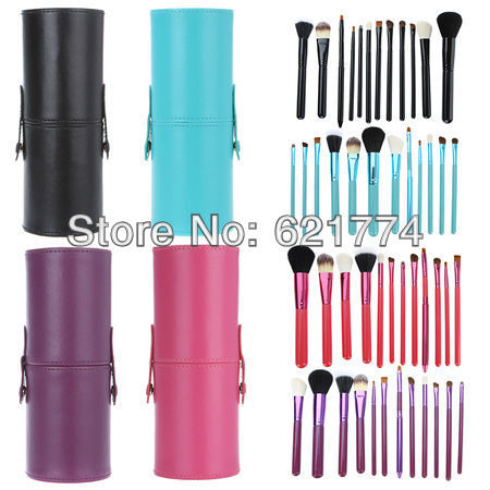 12pcs Professional Makeup Brush Set Cosmetic Brushes Kit Make up Tool with Cup Leather Holder Case Gift