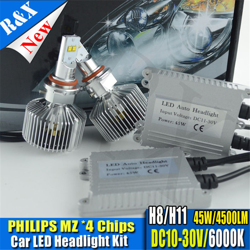 2xLED Car Headlights 90W Car LED Headlight P6 MZ Chips H8 H11 LED Headlight 9000LM 3000K 4000K 5000K 6000K Kit