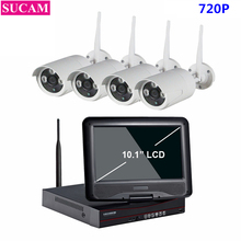 SUCAM 4CH HDMI NVR Kit Wireless CCTV System 10.1 Inch Screen 720P IR Night Vision Security IP Camera WIFI 1TB HDD Plug And Play