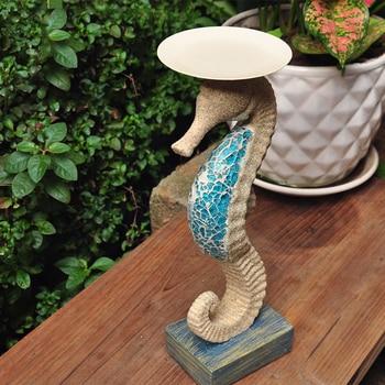 Rural Retro Sandstone-resistant Hippocampus Figurine Candlestick Garden Decoration Wedding Gift Tourist Souvenir