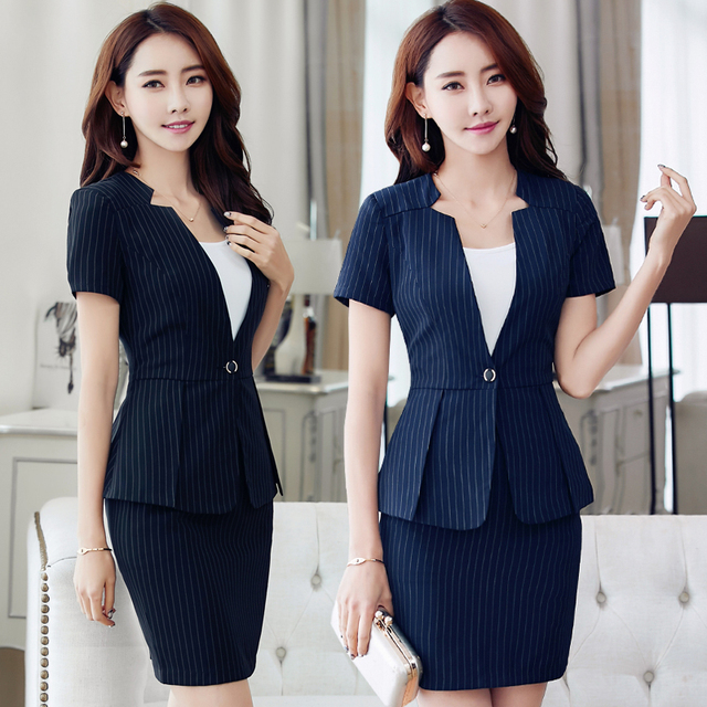 03332e8aa64 Hotel uniforme verano femenino cajero escritorio gerente esteticista set  ocupación con manga corta falda traje profesional