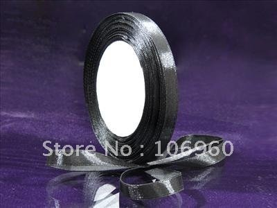 "Wholesale (Free Shipping) 3/8"" Black Scrapbook Craft Bow Satin Ribbon SR320"