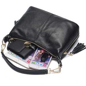 Image 5 - Zency Fashion Female Shoulder Bag 100% Natural Leather Women Handbag With Tassel Lady Messenger Crossbody Purse Small Bags Tote