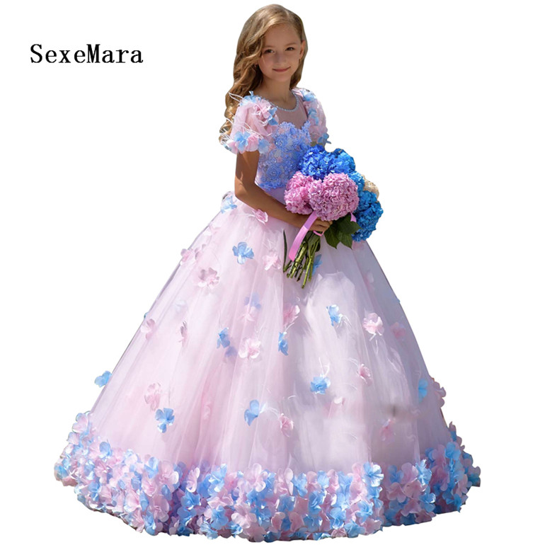 bfabab565d Princess Beautiful Puffy Dress Girls Pageant Dress Floral Evening Ball Gown  Long Birthday Prom Dress Pink Party dress for girls