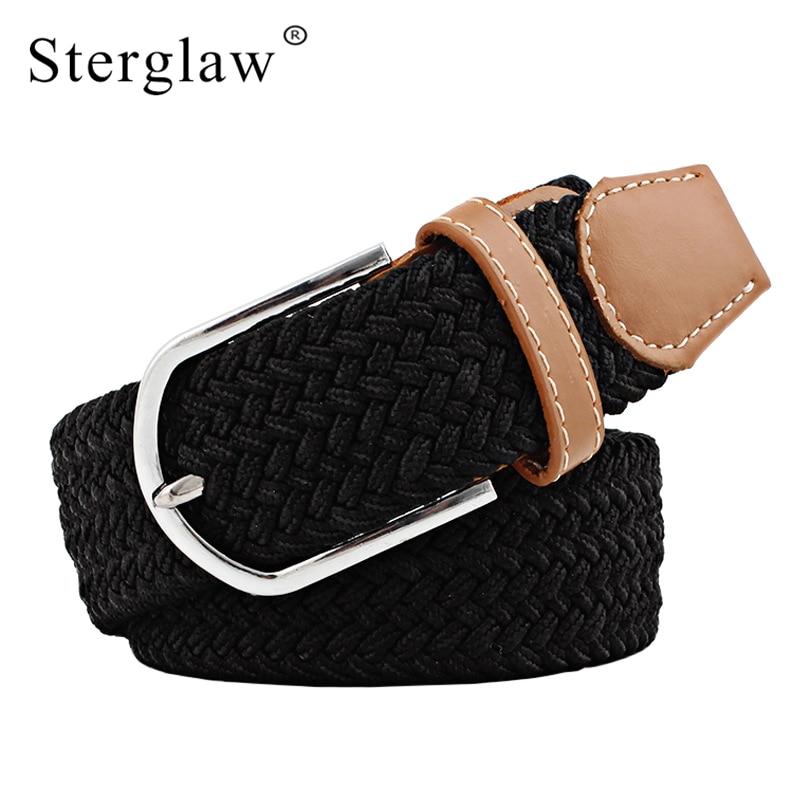 108 cm Hombres de moda blets de Lona para Las Mujeres Cinturón Liso Hebilla de Metal Cinturón Tejido Cinturón y correa elásticos de elasticidad femenina D002