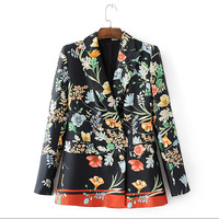 2017 Fashion Spring Floral Print Blazer Women Notched Double Breasted Long Sleeve Cozy Suit Jacket Elegant
