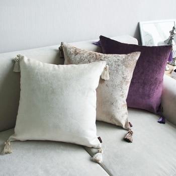 Velvet Tassel Throw Pillowcase