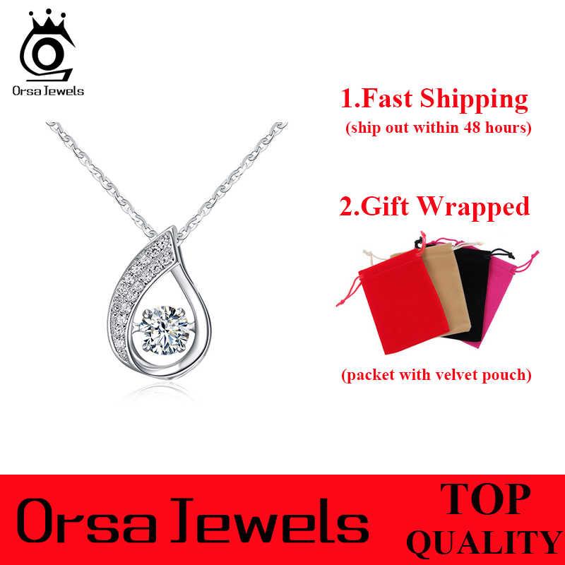 ORSA Драгоценности 100% стерлингового серебра 925 капли воды кулон Цепочки и ожерелья с подвижными блестящие кубического циркония натуральная Серебряные ювелирные изделия SN41