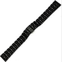 Correa de reloj de 22 mm nuevos Mens negro sólido de acero inoxidable para hombre Metal Watch Band pulsera correa para reloj inteligente