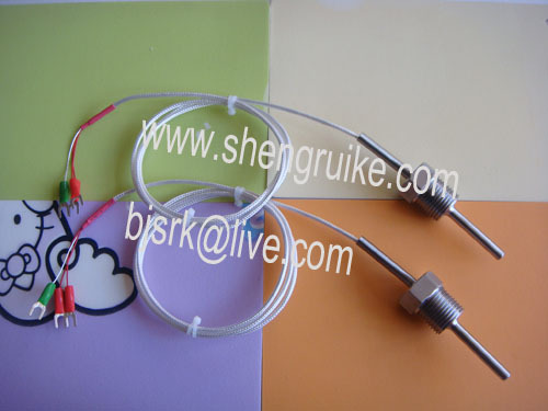 Pt100 temperature sensor with SS braid cable , fixed thread,