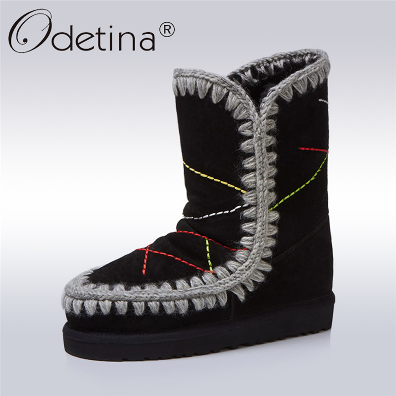 Odetina Fashion Genuine Sheepskin Leather Snow Boots For Women 100% Natural Wool Fur Slip On Ankle Boots Flat Winter Warm Shoes
