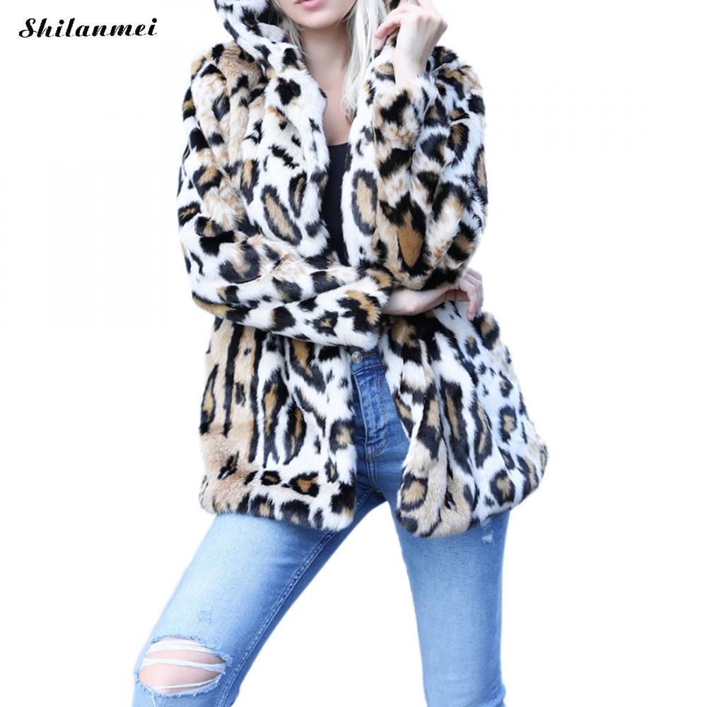 b75b7fd97ae Luxury Faux Fur Coat Leopard Women Hoody Winter Outwear Turn Down Collar  Slim Women s Long Jacket