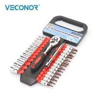 "Veconor 28pcs 1/4"" drive Ratcheting Socket Wrench Bit Set Chrome Vanadium Household Home Repair Hand Tools Kit For Bicycle Car|socket set|ratchet socket set|chrome vanadium -"