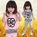 2016 Primavera e No Outono Roupas 100% de Algodão Do Bebê De Veludo 0-2 Anos antigo Conjunto Da Menina de Flor Calças 2/Definir a Roupa das Crianças marca