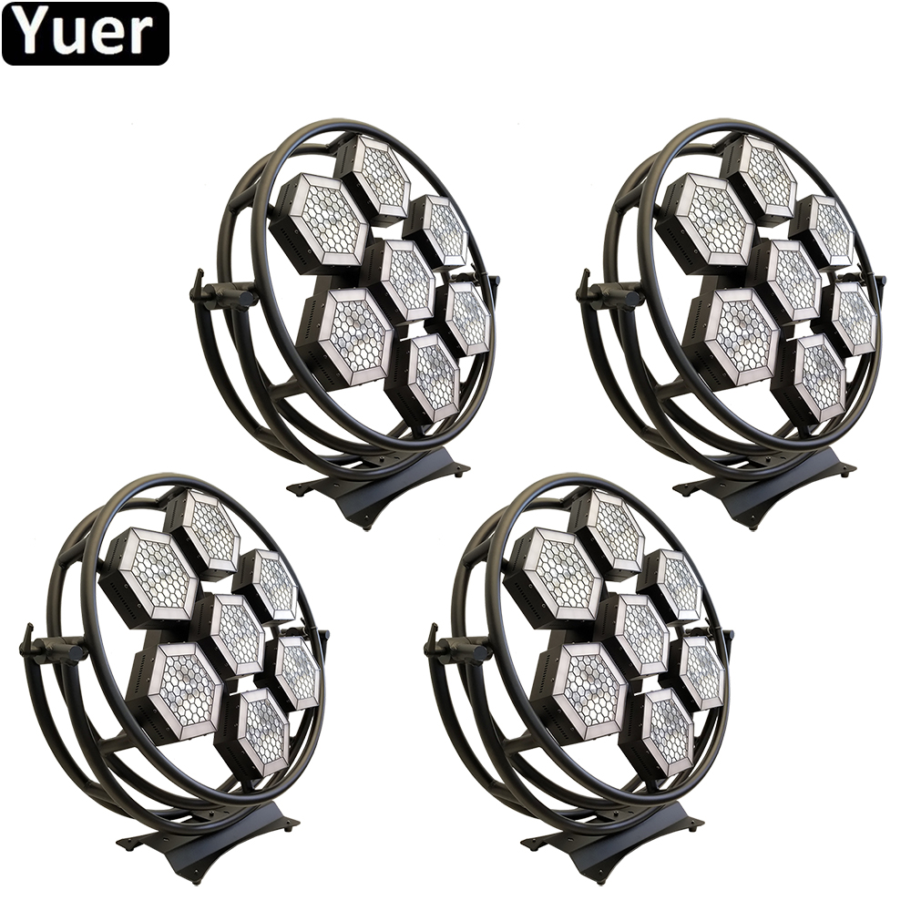 4Pcs/Lot 7 Halo Hexa LED SMD RGB 3in1 Pixel Light Projector Sound Party Lights DJ Lighting Effect For Disco Ktv Wedding Stage