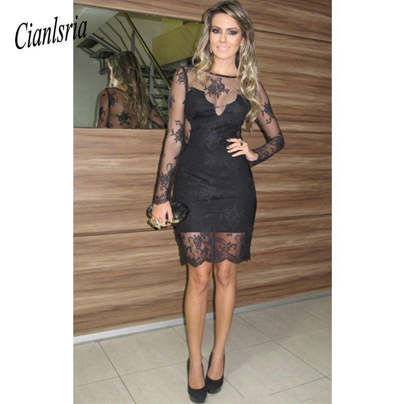 Black Sexy Sheath Homecoming   Dress   Illusion Long Sleeves Vestido De Festa   Dresses   Knee Length   Cocktail     Dresses