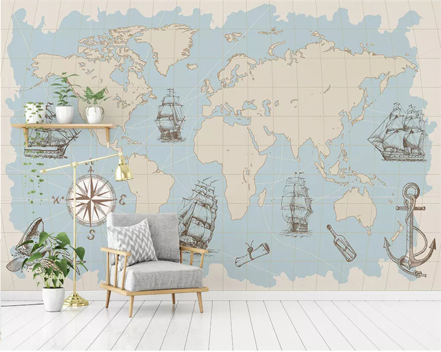 Beibehang Custom Any Size Mural Wallpaper Nautical World Map Living Room Office Study Interior