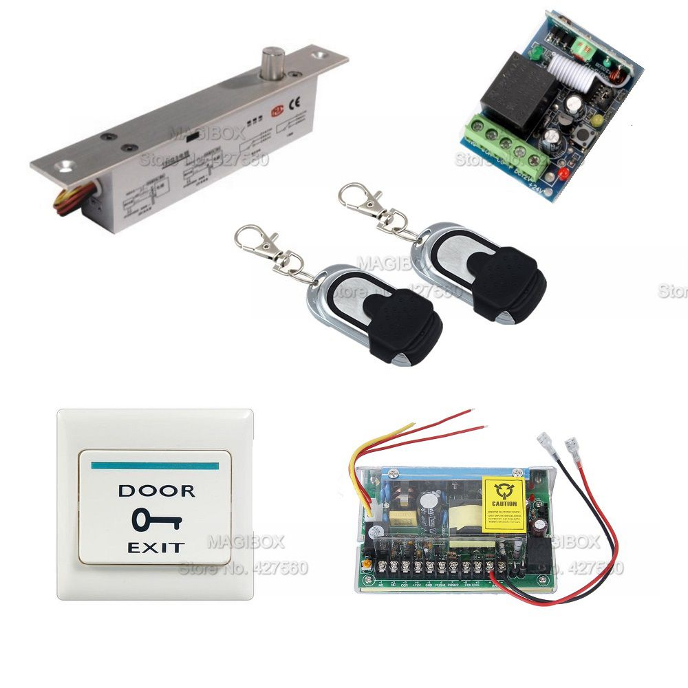 Remote Control Door Access Control System Set Electric Bolt Lock +Power Supply+ Switch цены онлайн