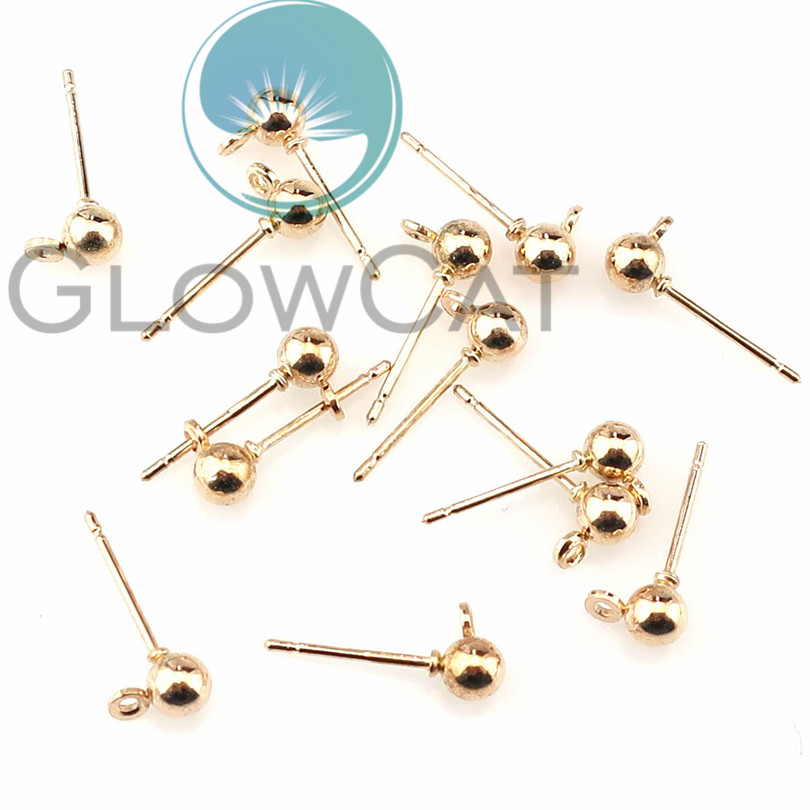 20pcs/lot Gold Silver Steel Fashion Ball Base Stud Earrings Connector For DIY Fashion Earrings Findings Jewelry Accessories