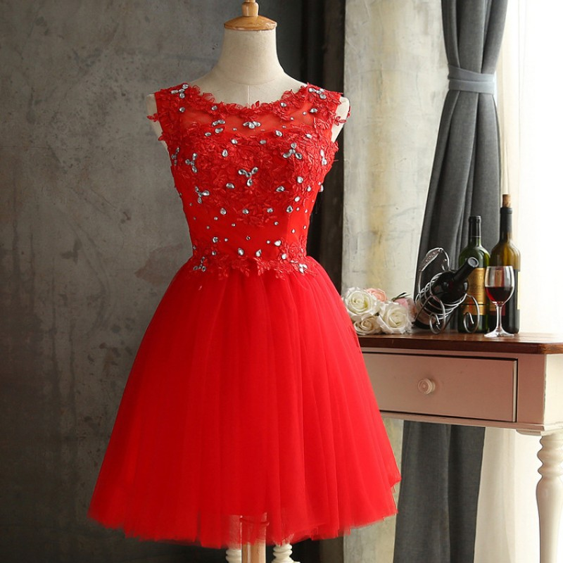 Red Homecoming Dresses Short TuTu Skirts Prom Party Cocktail Dress Graduation Dress Lace Crystal Dress DQG250