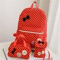 Women's Backpacks Ladies Shoulder Bag 3Pcs Backpack Set Mochila Escolar Zip School Youth Teenage Girls Black Bow Fashion Gift*