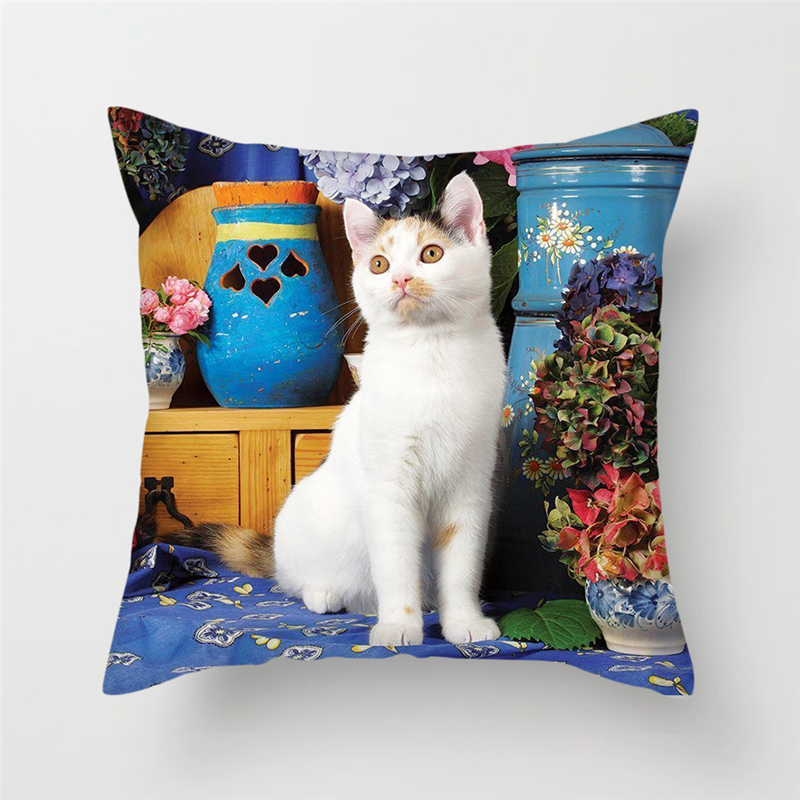 Fuwatacchi Cute Cats Dog Cushion Covers Animals Painting Pillow Covers For Home Sofa Chair Decor New 2019 Flowers Pillowcases in Cushion Cover from Home Garden