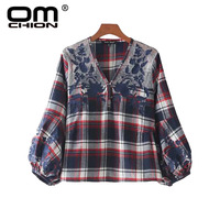 OMCHION Blusa 2017 New Plaid Autumn Shirts Casual Spliced Floral Embroidery Blouse V Neck Lantern Sleeve Women Tops LL99