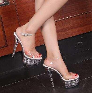Online Shop Steel Pipe Dance Shoes 2017 New Crystal Transparent Sandals  Waterproof Rose Flowers Super High Heel 15cm Female Shoes  db0619cca967