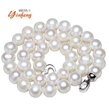[MeiBaPJ] 10-11mm Big Natural Pearl Necklace Pearl beads White Necklace Special offer Super Mother's Gift Wedding Jewelry