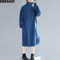 DIMANAF 女性冬のエレガントなロングドレスプラスサイズの女性 Vestidos コーデュロイ厚い女性ルースヴィンテージタートルネックコットンドレス -