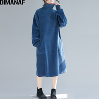 DIMANAF Women Winter Elegant Long Dresses Plus Size Ladies Vestidos Corduroy Thick Female Loose Vintage Turtleneck Cotton Dress